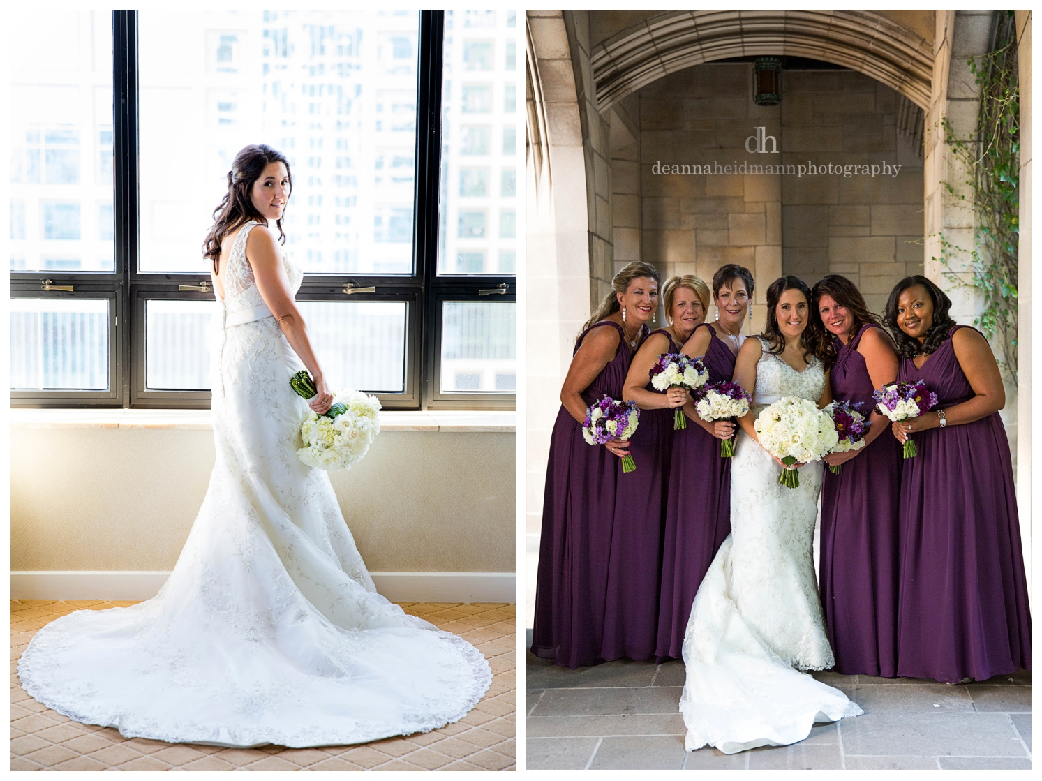 9 collage bridesmaids under arch